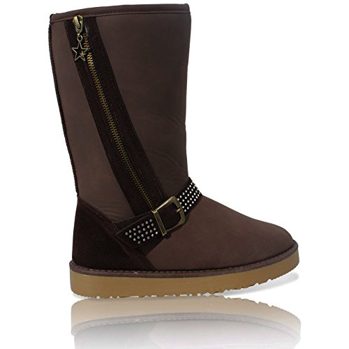 WOMENS LADIES FLAT FAUX FUR LINED BUCKLE SNUGG WINTER ZIP ANKLE BOOTS SHOES 3-8 Brown