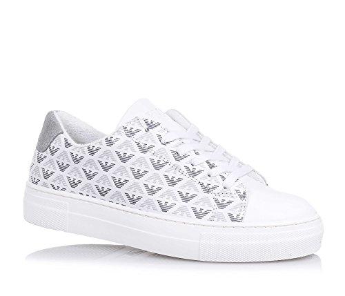ARMANI - Chaussure à lacets banche en cuir, made in Portugal, lacets blancs, motifs imprimés avec aigles, garçon, garçons
