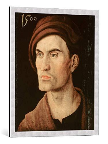 kunst für alle Framed Art Print: Albrecht Dürer Bildnis eines Jungen Mannes - Decorative Fine Art Poster, Picture with Frame, 25.6x31.5 inch / 65x80 cm, Silver Brushed