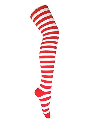 Triple M Plus Wenda Halloween Costume Zebra Striped Thigh High Cotton Socks.White/Red(1 -