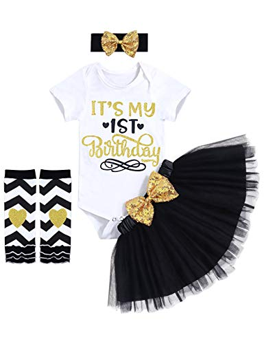 Toddler Baby Girls It's My 1st Birthday Romper Tutu Skirt with Headband Leg Warmers 4pcs Outfit Sets Black(12 Months)