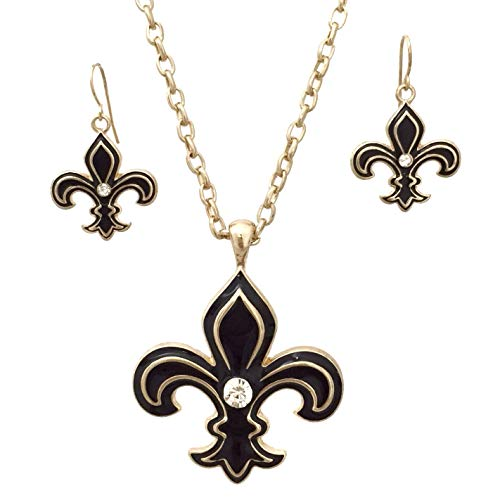 Gypsy Jewels Black & Gold Tone Fleur De Lis Necklace & Earrings Set (Rhinestone Center)