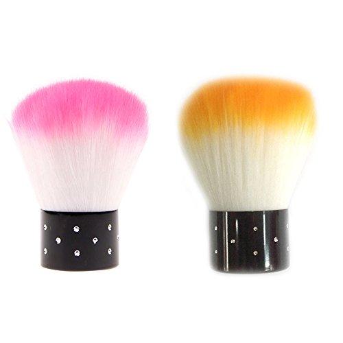 (Polytree 2pcs Mini Rhinestones Cosmetic Nail Art Dust Remover Face Brush (Random Color))