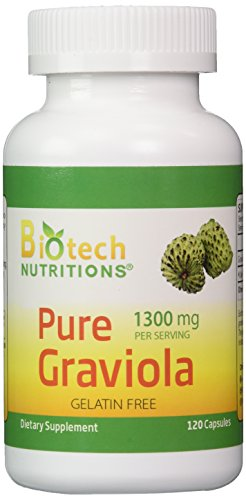 Biotech Nutritions 100% Pure Graviola 1300mg Per Servings 120 Capsules Per Bottle (Annona muricata)