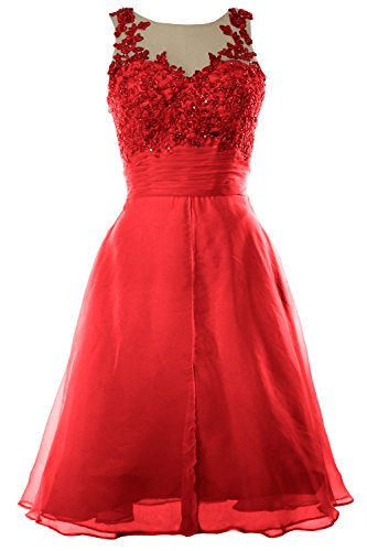MACloth Women Straps Lace Chiffon Short Prom Dress Homecoming Formal Gown Rojo