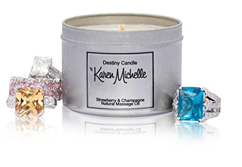 Scented Massage Oil Jewelry Candle - Strawberry and Champagne Aromatherapy | Destiny Candle by Karen Michelle | Beautiful Piece of Jewelry Inside | Rekindle the Romance
