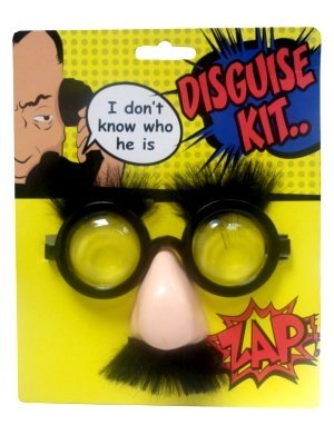 Fifty Fifty - Disguise Kit – Specs With Attached Nose,Moustache And Eyebrows (50s Costume Kit)