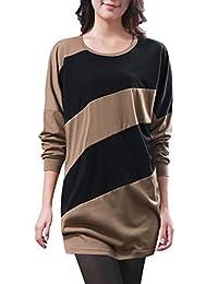 Allegra K Women Color Block Panel Batwing T Shirt Loose Tunic Tops