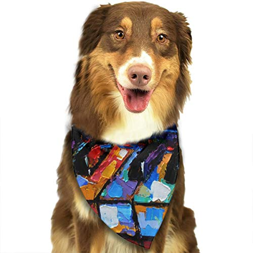 Pet Scarf Abstract Piano Keyboard Art Painting Triangle Bibs Bandanas Kerchief Set Pets Costume Decoration for Small Medium Large Dogs Cats