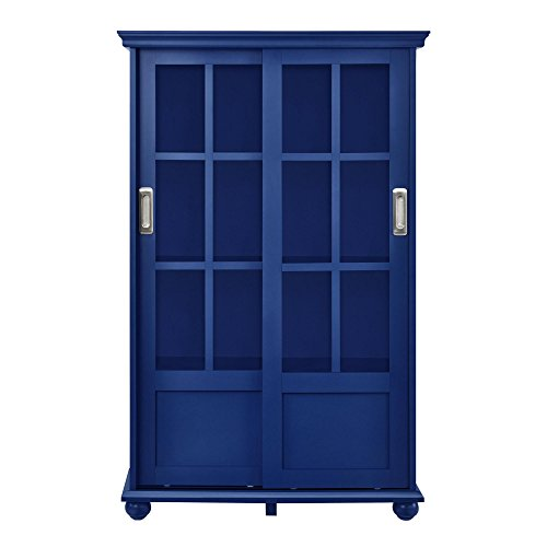 Ameriwood Home Aaron Lane Bookcase with Sliding Glass Doors, Blue by Ameriwood Home (Image #2)