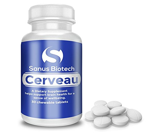 Cerveau - Patented, All-Natural Dopamine, Serotonin, Brain Boosting Supplement for Improved Focus, Energy, Memory and Overall-Well Being - 30 chewable tablets by Sanus