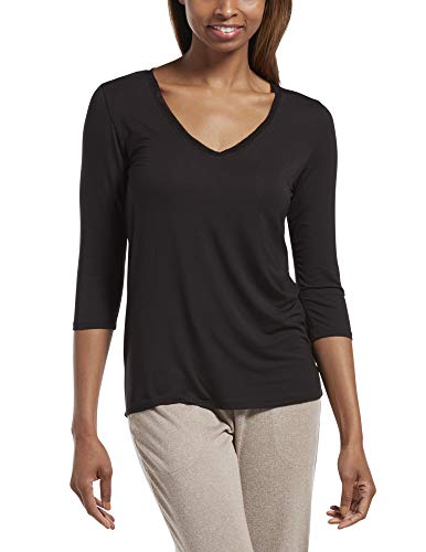 HUE Women's 3/4 Sleeve V-Neck Sleep Tee, Black, Large