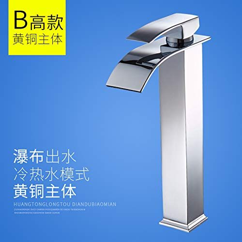 A1b228 redOOY Taps Faucet Waterfall Faucet Single Handle Low Flat Mouth Faucet Basin Hot And Cold Wide Mouth, B Short (Brass Body)