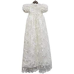 ABaowedding Lace Christening Gowns Baby Baptism Dress Newborn Baby Dress (12 M)