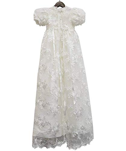 ABaowedding Lace Christening Gowns Baby Baptism Dress Newborn Baby Dress (12 M)