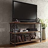 TRIBECCA HOME Myra Vintage Industrial Brown Wood - Iron TV Stand with 2 Shelves for DVD Players and Books