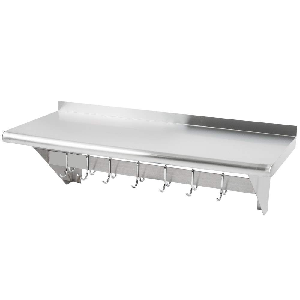 Hakka 15'' x 36'' Commercial Stainless Steel Wall Mounted Pot Rack with Shelf and Hooks