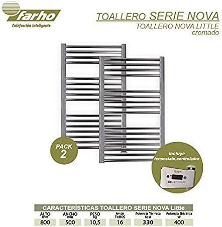 Medidas 800 x 500mm farho Pack 2 x Secador de Toallas Electrico Nova Little Cromado 400W /· Radiador Toallero Electrico Bajo Consumo /· Toalleros de Ba/ño//Calentador Toallas Digital Programable