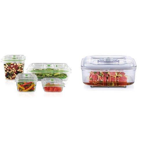 FoodSaver Vacuum Sealed Fresh Container Set, 4-Piece Set, Clear with Vacuum Seal Quick Marinator, 2.25 Quarts