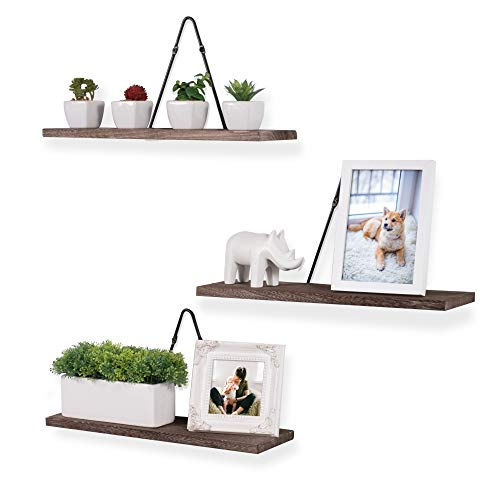 Rustic State Moma Wall Mounted Triangle Bracket Rectangular Floating Shelf Wood Distressed Torched Walnut Set of 3