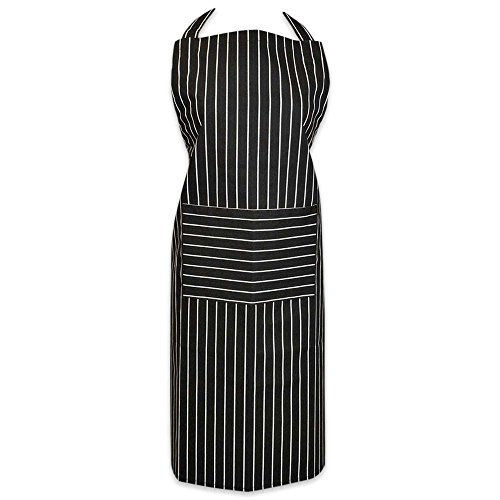 DII 100% Cotton, Professional Stripe Bib Chef Apron, Unisex Restaurant Kitchen Apron, Adjustable Neck Strap & Waist Ties, Machine Washable, Front Pocket, Perfect for Cooking, Baking, BBQ - Black (Apron Front Bar)