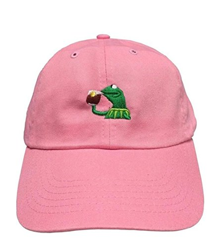 kermit-the-frog-sipping-tea-adjustable-strapback-cap-pink