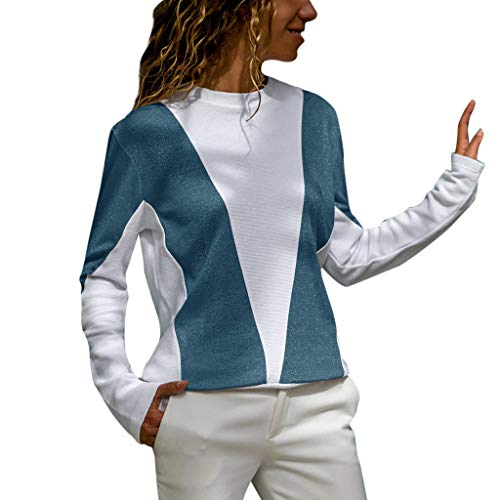 (Sunhusing Womens Solid Color Sparkle Sequin Stitching Round Neck Long-Sleeve Shirt Colorblock Glitter T-Shirt)