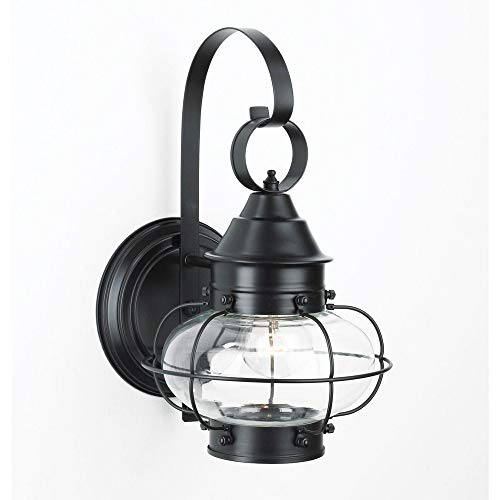 - Norwell Lighting 1324-BL-CL Cottage Onion - One Light Outdoor Medium Wall Lantern, Glass Options: Clear Glass, Choose Finish: BL: Black
