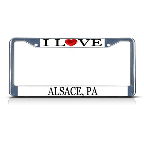 Cukudy Car Auto Tag Holder Chrome I Love Heart Alsace Pa Aluminum Metal License Plate Frame Silver