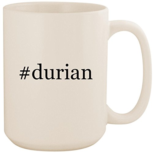 #durian - White Hashtag 15oz Ceramic Coffee Mug Cup