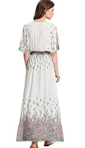 Dress Multicolor white Milumia Boho Waist Tie Maxi Print Split Vintage Women's w8zvqx48rT