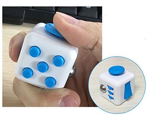 Fidget Cube Relieves Stress And Anxiety for Children and Adults Blue/White (07 )