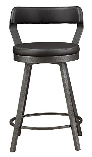 "Homelegance Appert 24"" Counter Height Swivel Bar Stool, 2-Piece Pack, Gray by Homelegance"