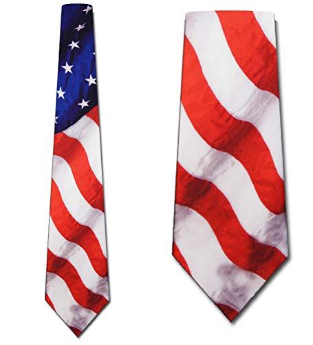 Flag tie Stars Stripes Patriotic Men's Neck Tie by Ralph - Necktie Ralph Marlin Mens
