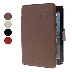 Nsaneoo - Litchi Pattern PU leather Full Body Case with Card Slot and Stand for iPad mini (Assorted Colors) , Beige