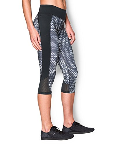 Under Armour Women's Fly-By Printed Run Capri, Black/Reflective, X-Small