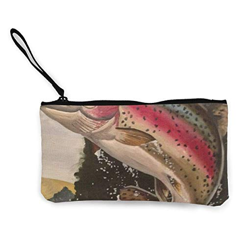 Trout For Sd4r5y3hg Print Pattern Coin Canvas Water Men Women Of And 3d Purse Jumping Out Unisex Wallets dqUqOH