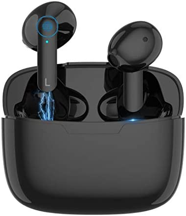 Bluetooth 5.0 Wireless Earbuds,【24Hrs Charging Case】 Smart Touch Control Bluetooth Headphones, IPX6 Waterproof Sport Headphones, 20 Hours,for iPhone/Samsung/Android AirPods Pro Apple Earbuds,Black