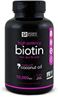 High Potency Biotin (10,000mcg) with Organic Coconut Oil | Supports Healthy Hair,Skin & Nails | Non-GMO Verified & Vegan Certified |120 Veggie-Softgels