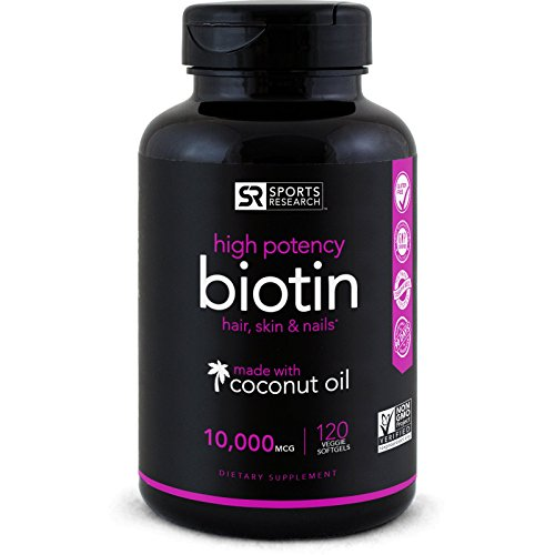 High Potency Biotin (10,000mcg) with Organic Coconut Oil; Supports Hair Growth, Glowing Skin and Strong Nails; 120 Mini-Veggie Softgels
