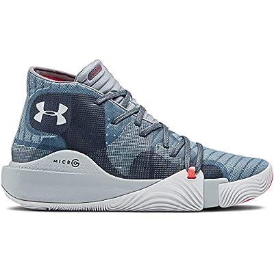 Under Armour Men's Spawn Mid Basketball Shoe, Ash Gray (401)/Harbor Blue, 4.5 | Basketball