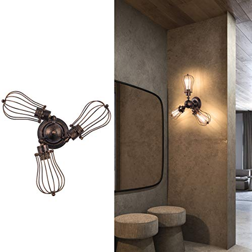 Wall Ceiling Light Bronze (Industrial Light Fixture, Rustic Large Rotatable Ceiling Lighting Oil Rubbed Bronze Vintage Wall Sconce with 3-Light Semi Flush Mount Cage Sconces Farmhouse Lamp for Bedroom Living Room Cafe(1 Pack))