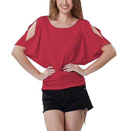 t Extensible souris Rouge Tops Shirt Sexy Courtes Hors iBaste paule T Casual T Shirt Solide Femmes Manches Chauve AUdWqFw