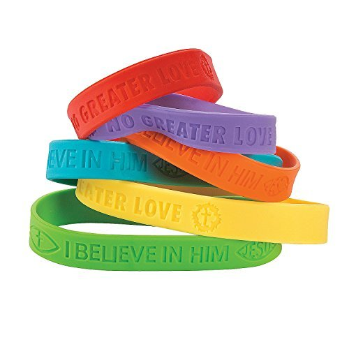 No Greater Love Rubber Bracelets VBS (24 Pieces) 7 1/4