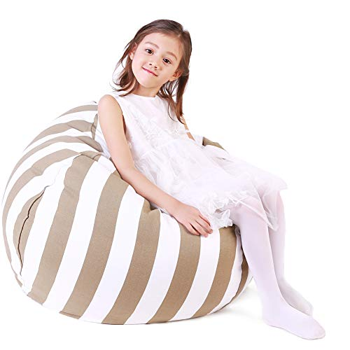 Lukeight Stuffed Animal Storage Bean Bag Chair, Bean Bag Cover for Organizing Kid's Room - Fits a Lot of Stuffed Animals, X-Large/Khaki Stripe