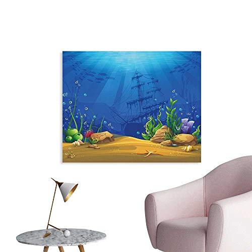 J Chief Sky Aquarium Wall Decoration Marine Life Landscape Sunken Ship Silhouette Corals Fishes Tropics Wallpaper Mural W36 xL24