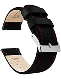 22mm Black/Red Stitching - Barton Quick Release - Top Grain Leather Watch Band Strap