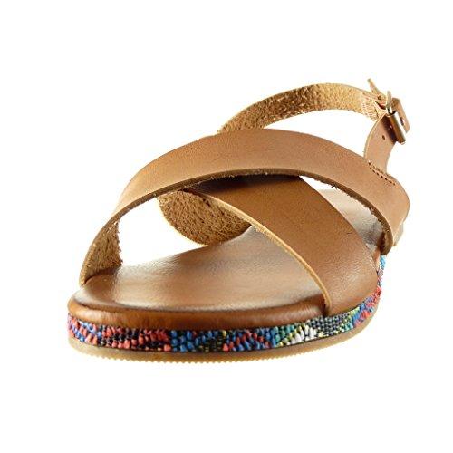 Cm Correas Tacón Cruzadas 5 Tanga Zapatillas Mujer Correa De Bordado Tobillo 1 Sandalias Moda Camel Angkorly Ancho nFHZ8P0qx