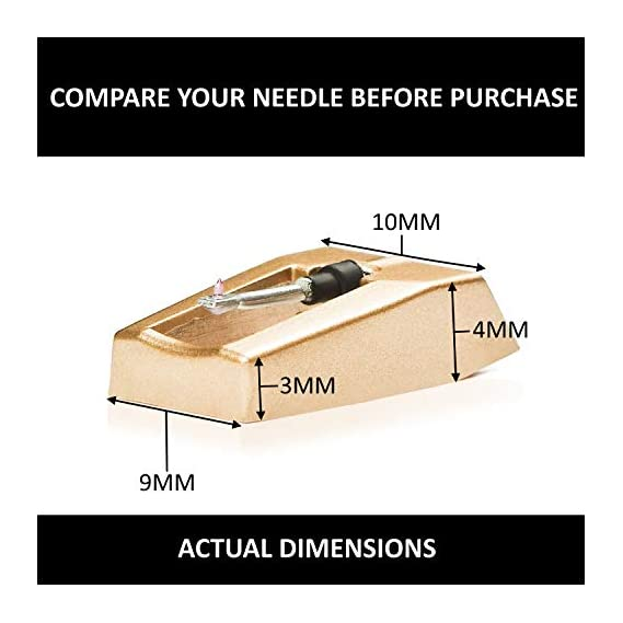 Exuby Record Player Needle W/ Diamond Tip 3-Pack, 1000 Hour Life Span Saves You Money, Turntable Needle Installs in