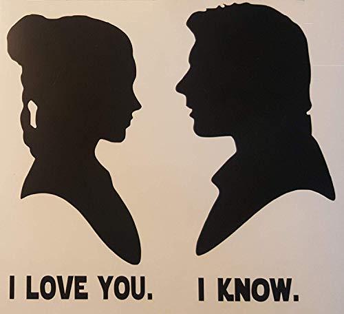 Star Wars Han Solo & Princess Leia Silhouette Decal Matte Black ()
